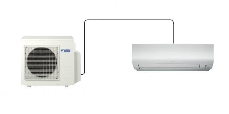 Ein Split-Klimagerät besteht aus einem Außengerät und einem Innengerät, welche durch Kältemittelleitungen verbunden sind (©Daikin Airconditioning)